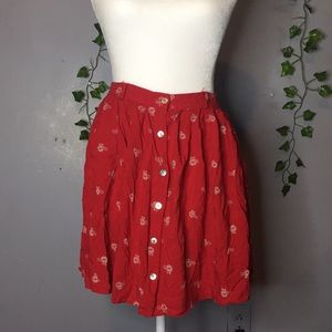 Love fire red and white bicycle button up skirt